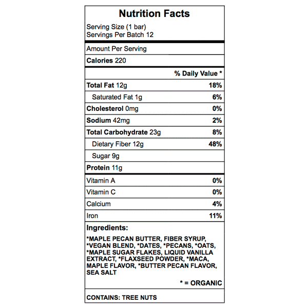 maple pecan bar nutrition facts