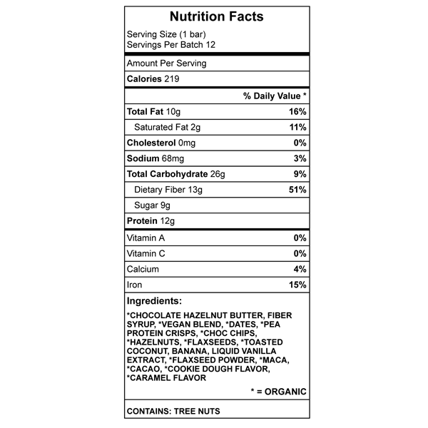 Mmm Nutella Protein Bar Nutrition Chart