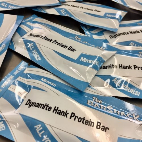 Dynamite Hank protein bar package