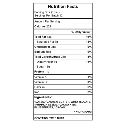 Kirat's protein bar nutrition label