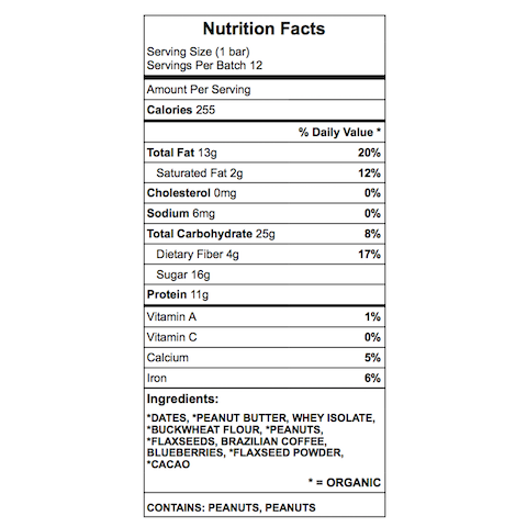 Curts protein bar nutrition chart