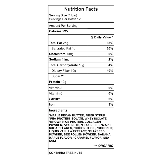 Maple-Walnut Bar Nutrition chart