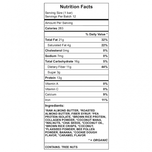 Antioxidant Answer Protein Bar Nutrition Label