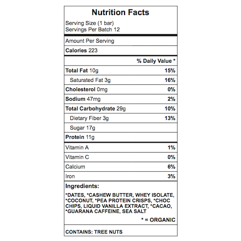 Mike H. Protein Bar Nutrition Chart