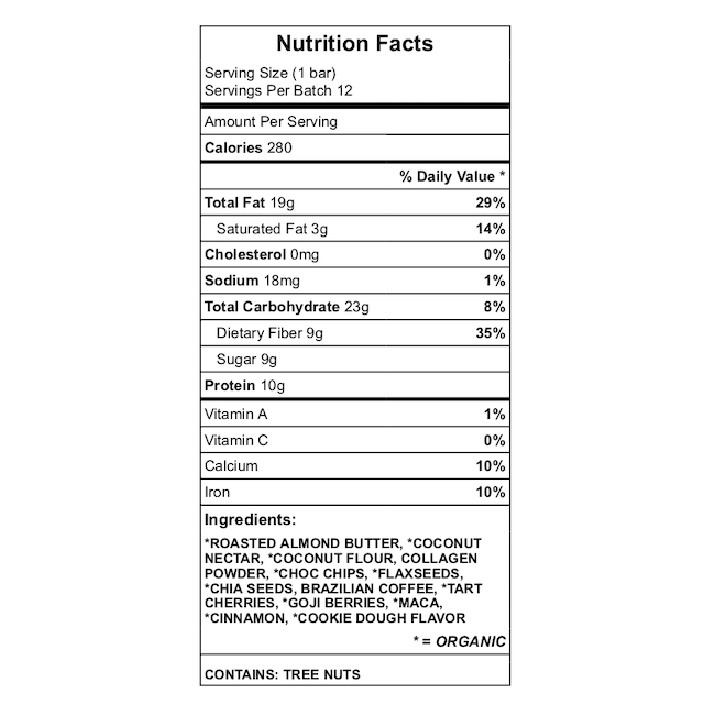 Guapos protein bar nutrition chart