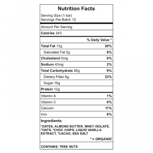 Dan's Power Protein Bar Nutrition Chart