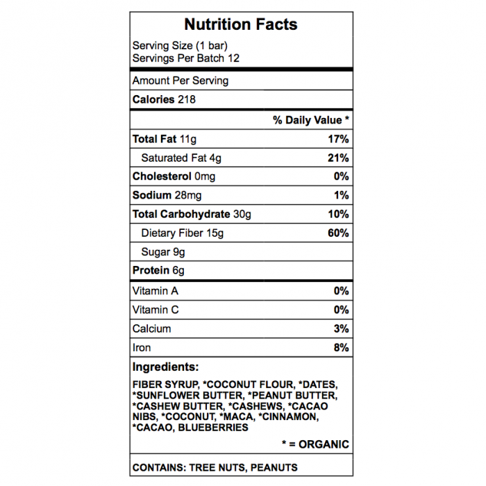Chang's Nuts Protein Bar nutrition chart