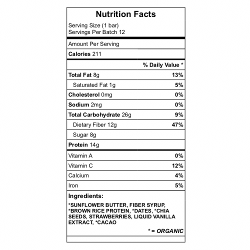 Allergy friendly protein bar nutrition data