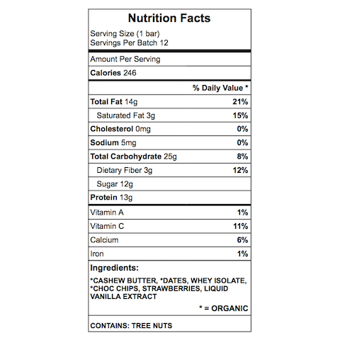 Hot Mamma Protein Bar Nutrition Chart