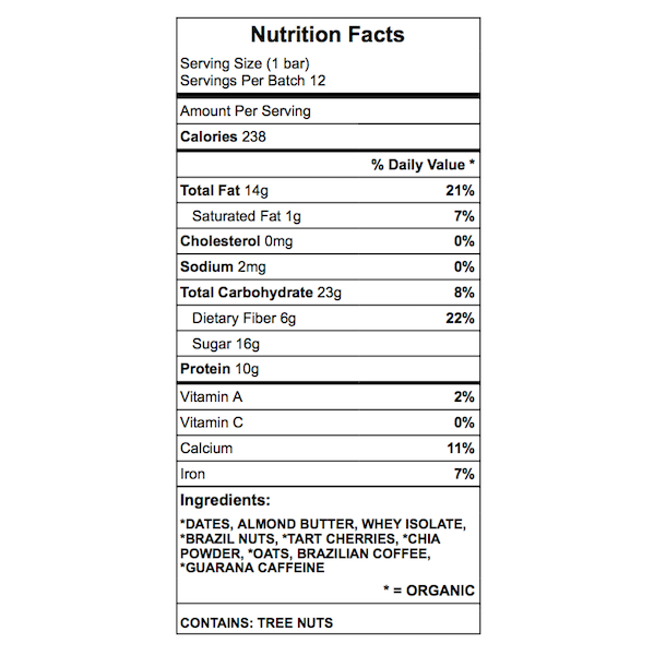 Mom's breakfast protein bar nutrition chart
