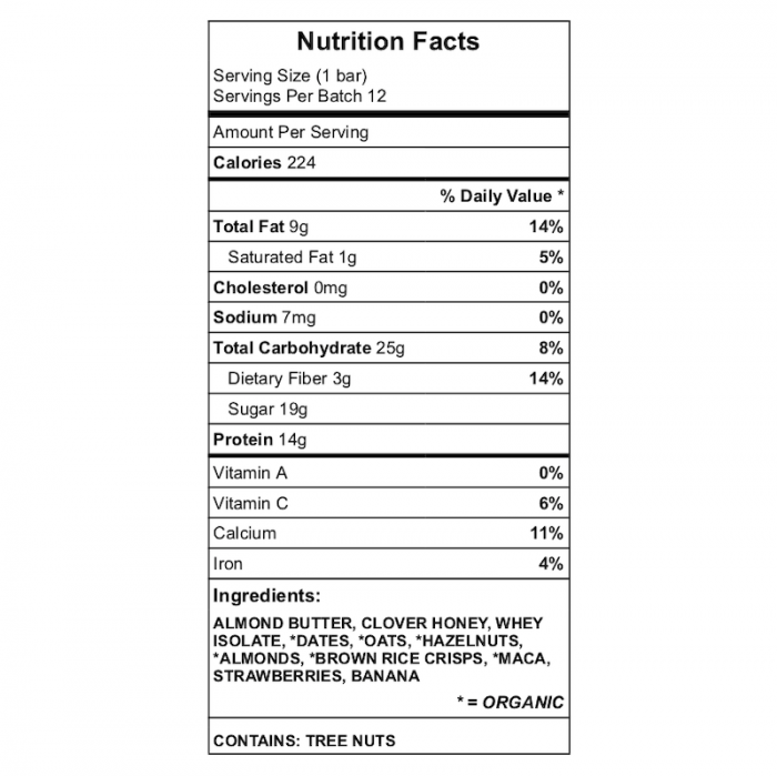 ex bar nutrition chart