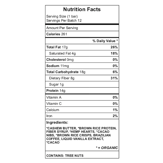 Coffee Cacao Crisp Nutrition Chart