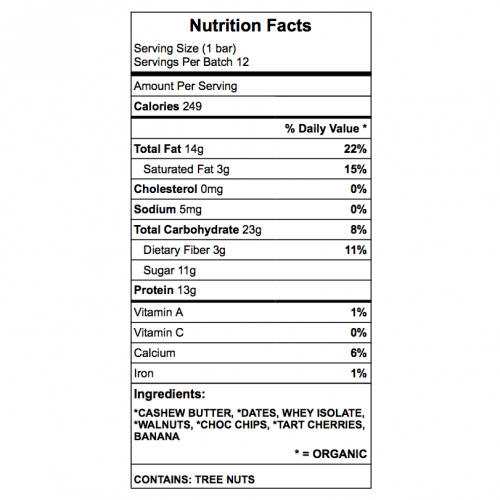 fats messina protein bar nutrition chart