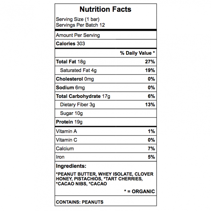 Kosta protein bar ingredient chart