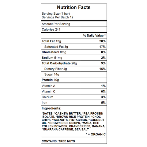 Lola protein bar nutrition chart