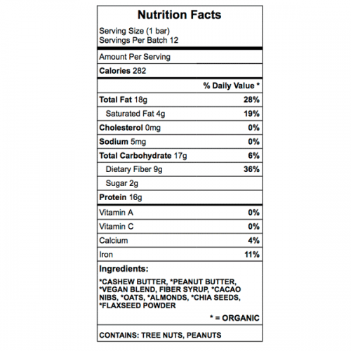 Plant Powered Protein Bar Nutrition Chart