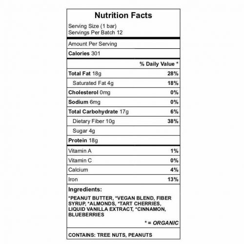 'Brucie Bar' Protein bar nutrition