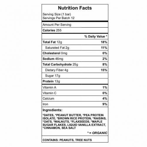 Momma's Mojo Bar Nutrition Chart