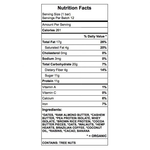 Victory Ranch Protein Bar Nutrition