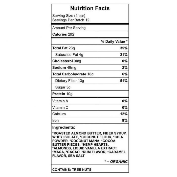 Julesy's Keto - Roasted 2 protein bar Nutrition chart