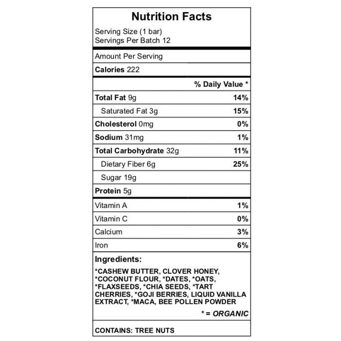 'Mine' Protein Bar nutrition chart