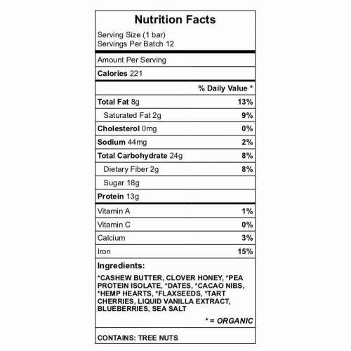 Bar-B-Bar nutrition chart