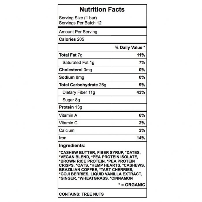 Cashew Dream protein bar nutrition chart