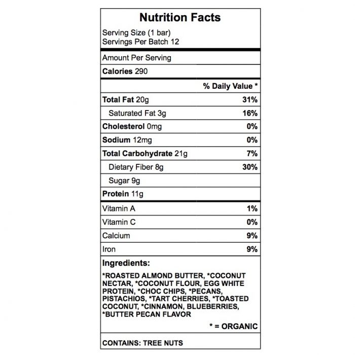 Diane's Dream protein bar nutrition