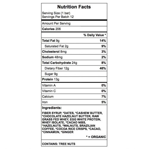 Superstar Protein Bar Nutrition Label