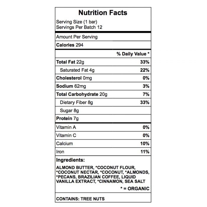 Carsten fuel protein bar nutrition chart