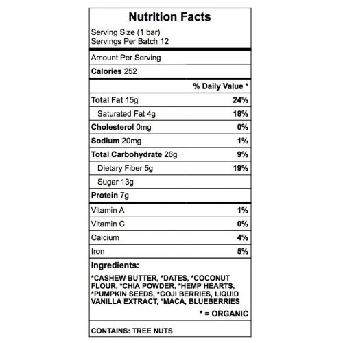 MEP101 protein bar nutrition