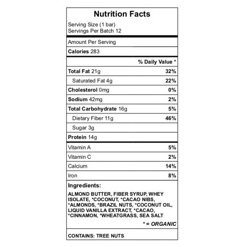 Brazil Nut Bars Nutrition Chart