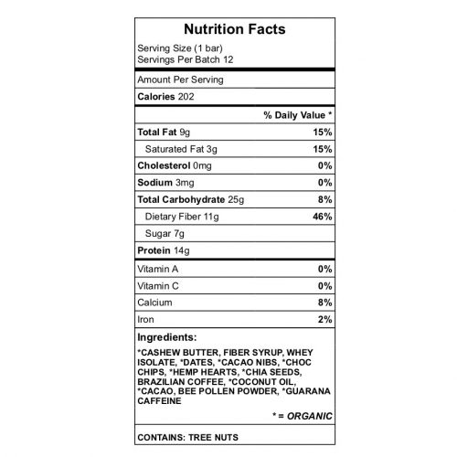 Whirlaway Cacao Protein nutrition