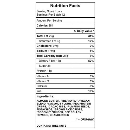 GingerCrisp protein bar nutrition