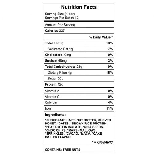 Yummers protein bar nutrition chart
