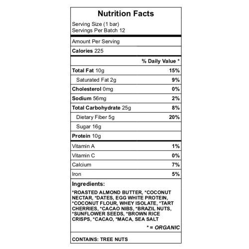 Cherry Almond Brian Bar Nutrition