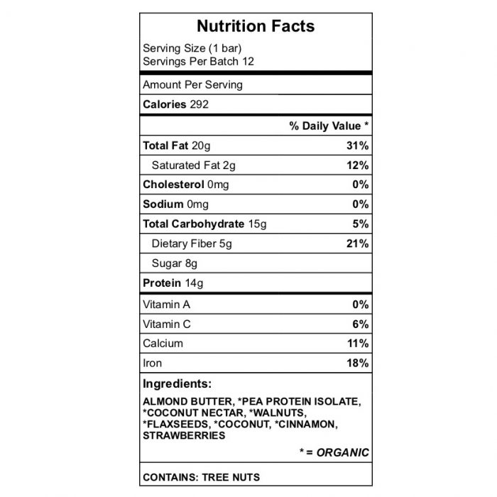 Walnut and Coconut protein bar nutrition