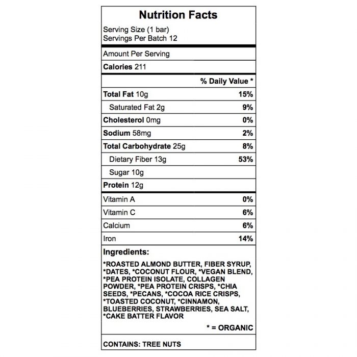 Sweet Vegan Booty Protein Bar Nutrition