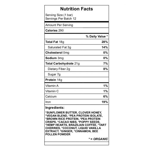 PoppinCherry GingerCrisp protein bar nutrition