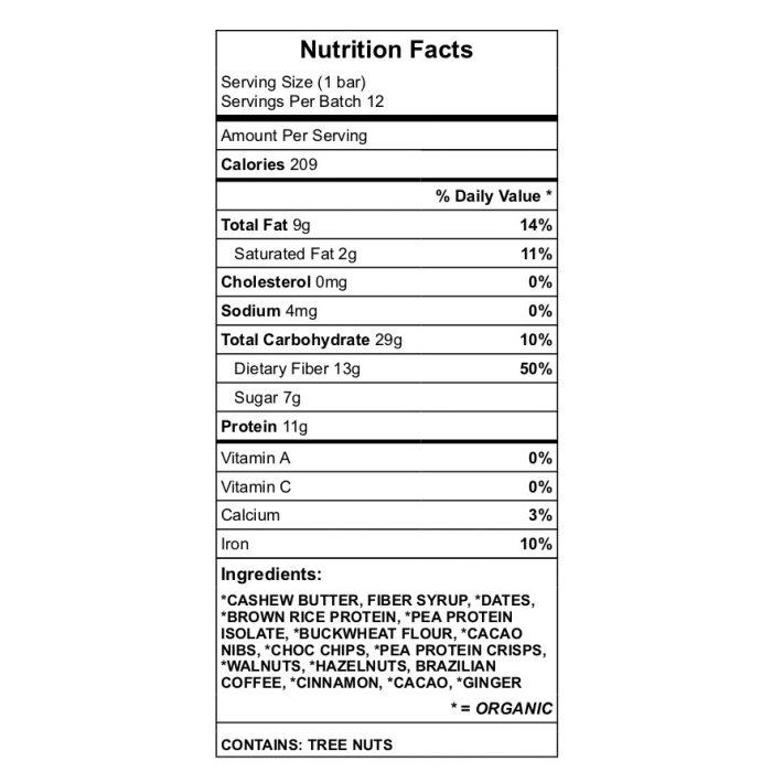chocoNut protein bar nutrition