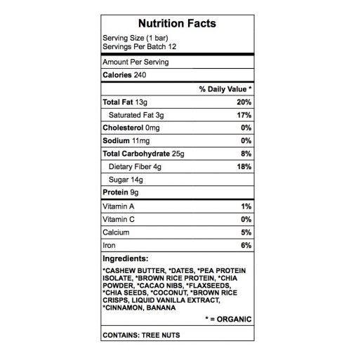 Anne's goodies protein bar nutrition chart