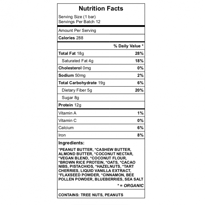 Gorman 1 protein bar nutrition