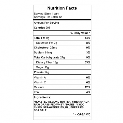 Berry Chocolate Protein bar nutrition chart