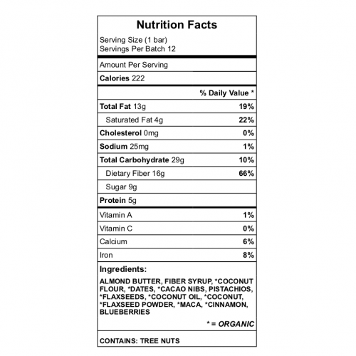 Betty's PRotein Bar Nutrition LAbel