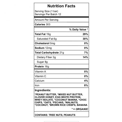 Dad's Bar Nutrition
